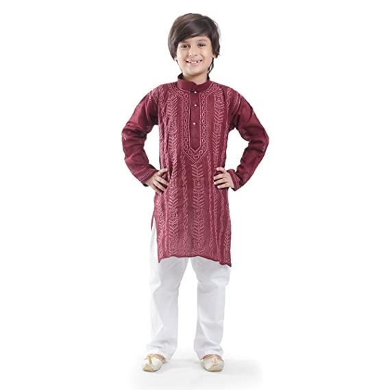 b2173f4f352fcf Nilay Business House Wine Boys Chikan Cotton Kurta and Pyjama with Full  front and back Embrodery: Amazon.in: Clothing & Accessories