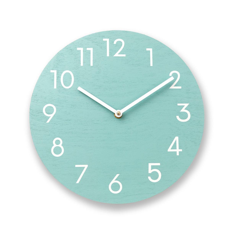 . Mint green wall clock  Wood wall clock  Numbers clock  Modern wall clock   Contemporary wall clock  Solid color wall clock  Kitchen clock