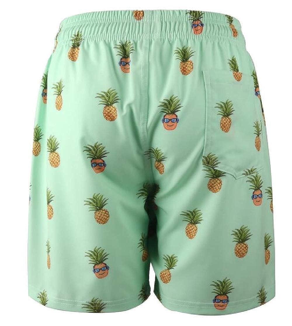 Cromoncent Mens Elastic Waist Printed Holiday Summer Vogue Beach Board Shorts