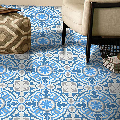 Moroccan Mosaic & Tile House CTP05-01 BAHA Handmade Cement Tile, 8''x8'', Sky White/Gray/Dark Blue (8 Inch Ceramic Floor Tile)
