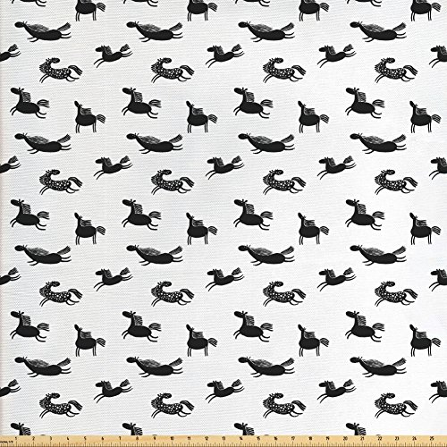 Horses Fabric by the Yard by Ambesonne, Cute Doodle Equidae Pattern Monochrome Cartoon Characters Galloping Trotting Pacing, Decorative Fabric for Upholstery and Home Accents, Black - Male Characters Black Cartoon