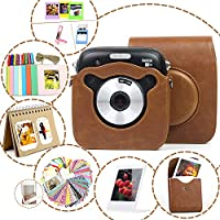 Fujifilm Instax Square SQ10 camera case/Bag PU Leather Protective package Accessories Bundles with Shoulder Strap(Polaroid Album, Frames,Film Stickers,)-Brown