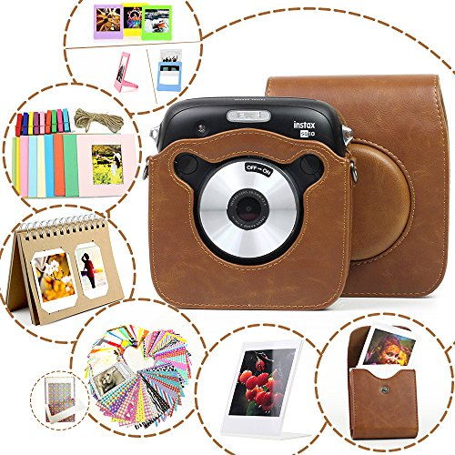 Wogozan 7 in 1 Fujifilm Instax Square SQ10 Camera Accessories Bundles Kit – Brown