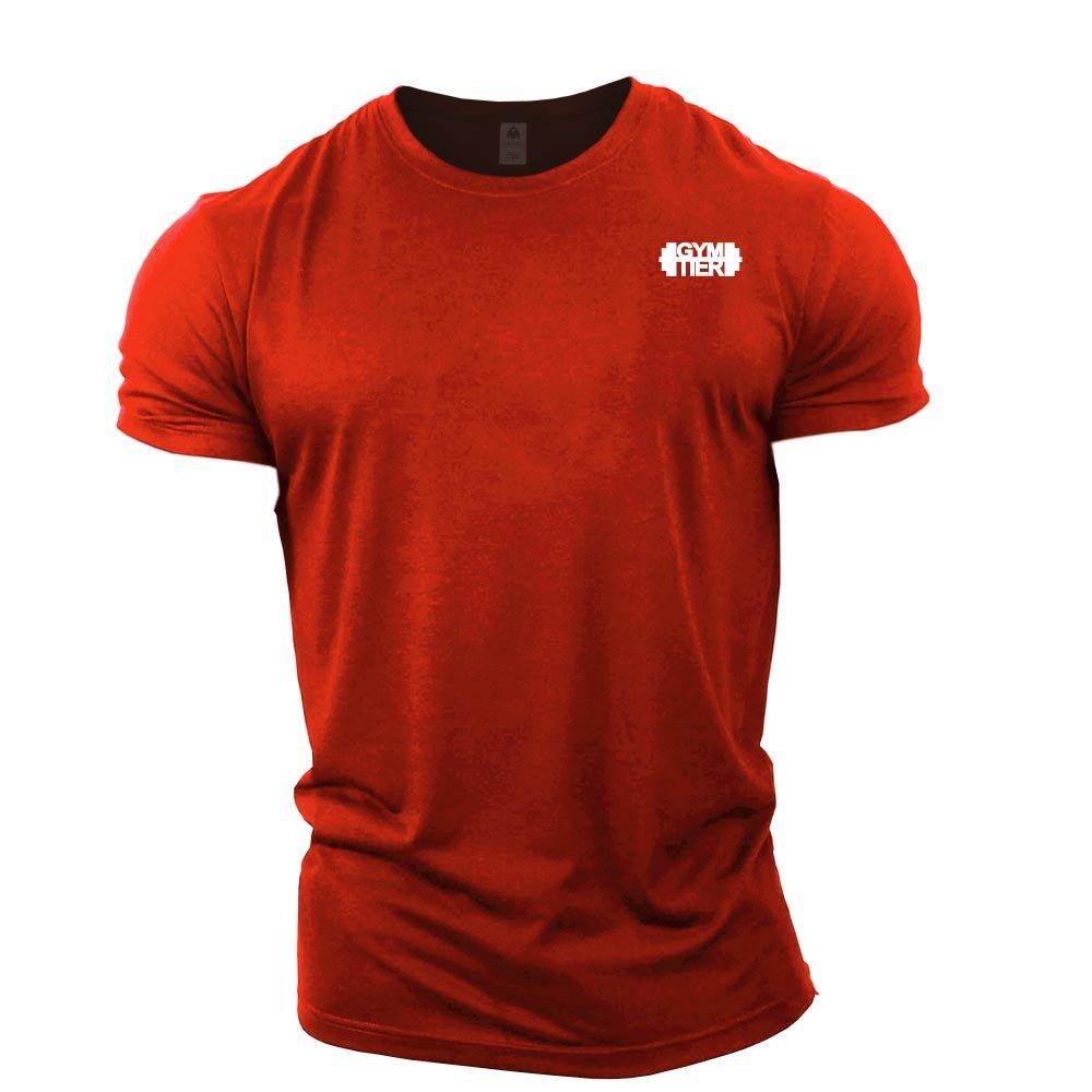 GYMTIER Mens Bodybuilding T-Shirt - Plain Badge - Gym Training Top gymtierplain