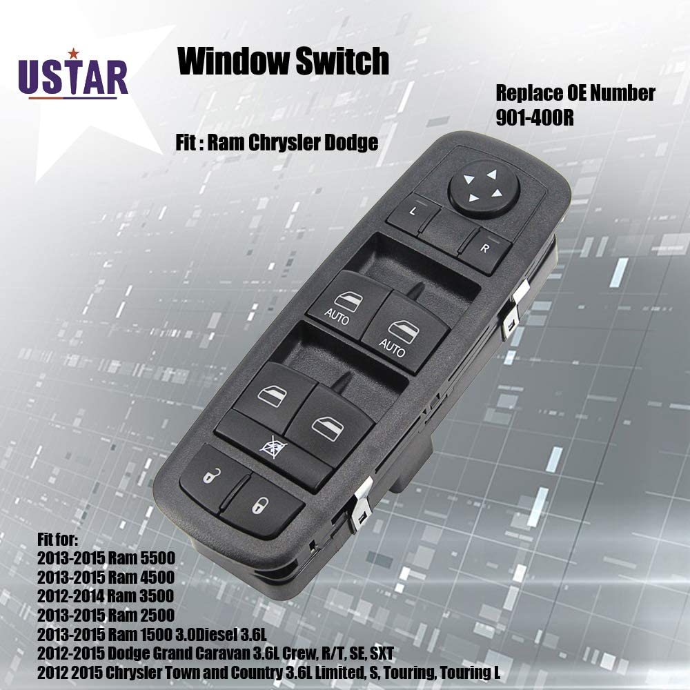 Power Window Switch Master Control Switch for Ram 1500 2500 3500 4500 5500 2012 2013 2014 2015 Dodge Grand Caravan Chrysler Town and Country Replaces 901-400R 68110866AB 68110866AA 68298866AA