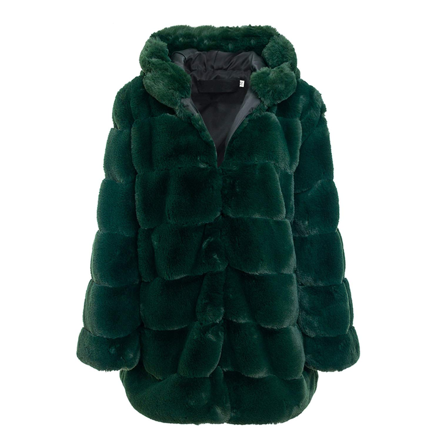 Dark Green For What Reason Vintage Fluffy Hoodie Women Winter Grey et Coat Female Plus Size Warm Long Casual Overcoat