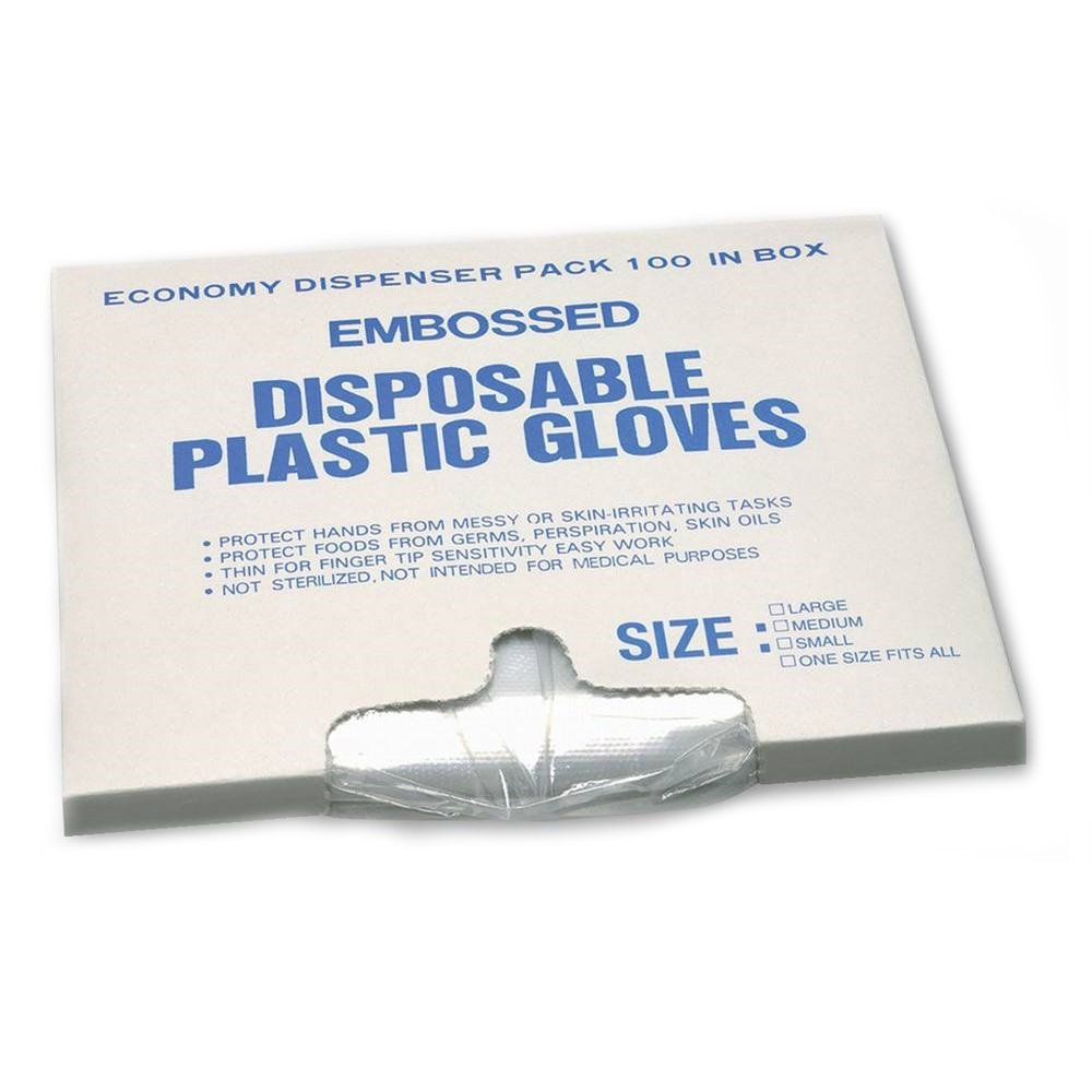 Large Embossed Disposable Polyethylene Plastic Clear Foodservice Gloves Pack of 100
