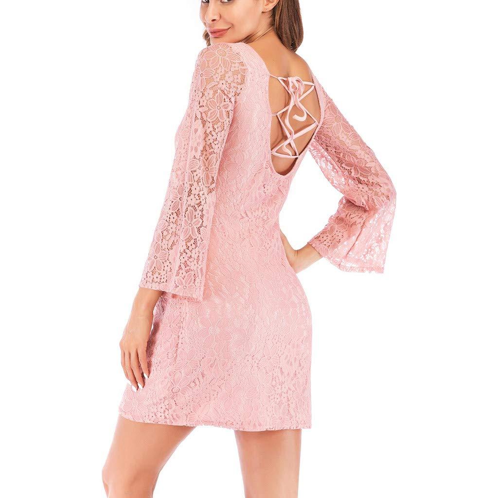 Maternity Bodycon Dress Women Lace Long Sleeve Pregnat Nursing Comfortable Blouse Pink