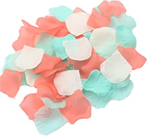 900 Pack Coral Aqua Mint Ivory Rose Flower Petals Confetti for Wedding Table Scatters Flower Girl Basket Toss Petals Bridal Baby Shower Birthday Favor Aisle Garden Party Floral Craft Embellishment