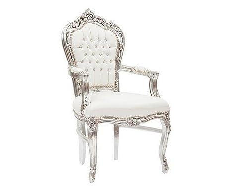 Poltrona sedia con braccioli stile Barocco Moderno, struttura in ...