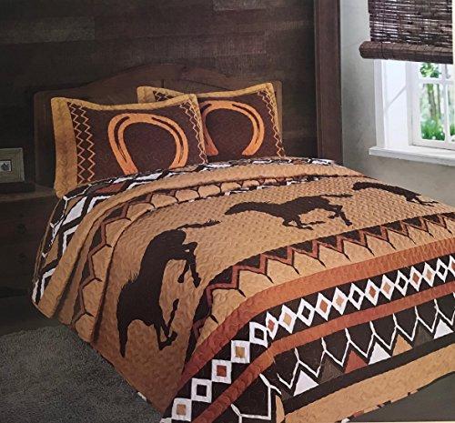 (Southwest Horseshoe Wild Running Horses Western Quilt Set Bedspread - 3 Piece Set (Queen))