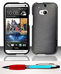 Accessory Factory(TM) Bundle (the item, 2in1 Stylus Point Pen) HTC One 2 M8 - Rubberized Design Hard Snap-On Case Cover Protector Carbon Fiber DP