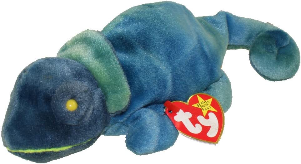 9 inch 1997 Ty Original Beanie Babies RAINBOW The Blue//Green Chameleon w//Tags