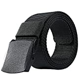 Nylon Belt Outdoor Men's Military Tactical Belt Casual Belt Plastic Automatic Buckle Webbing Belts (Black)
