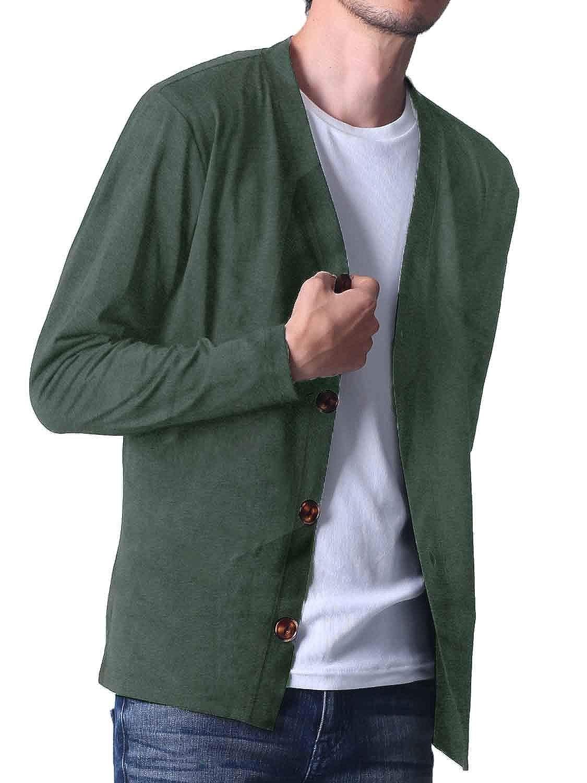 カーディガン メンズ 長袖 FTELA ボタン シンプル 羽織 春夏秋冬 ジャケット セーター 無地 (フテラ)
