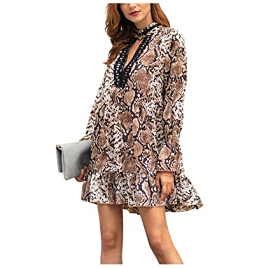 078c55f556579 Dimplee Snakeskin Smock Dress Sexy V Neck Long Bell Sleeve Flounce Ruffle  Loose Swing Animal Print