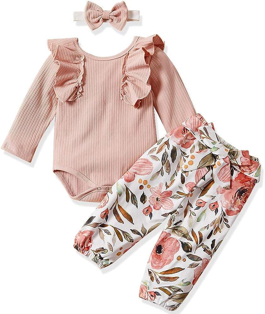 Newborn Baby Girls Clothes Cute Baby Girl Ruffle Sleeveless Romper + Floral Pants + Headband Winter Outfit 3Pcs Set