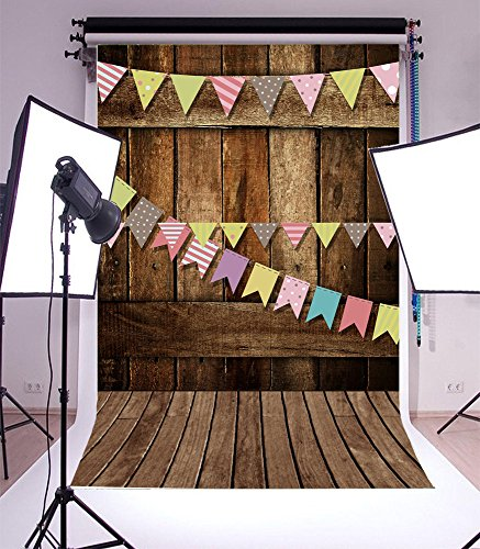 LFEEY New Fashion Vinyl Thin Backdrop,3x5ft Photography Background,Wooden Board Wall Theme,Flags,Children Party Scene,Computer Painted,Attractive Backdrop,1(W)x1.5(H)m For Photo Studio Props