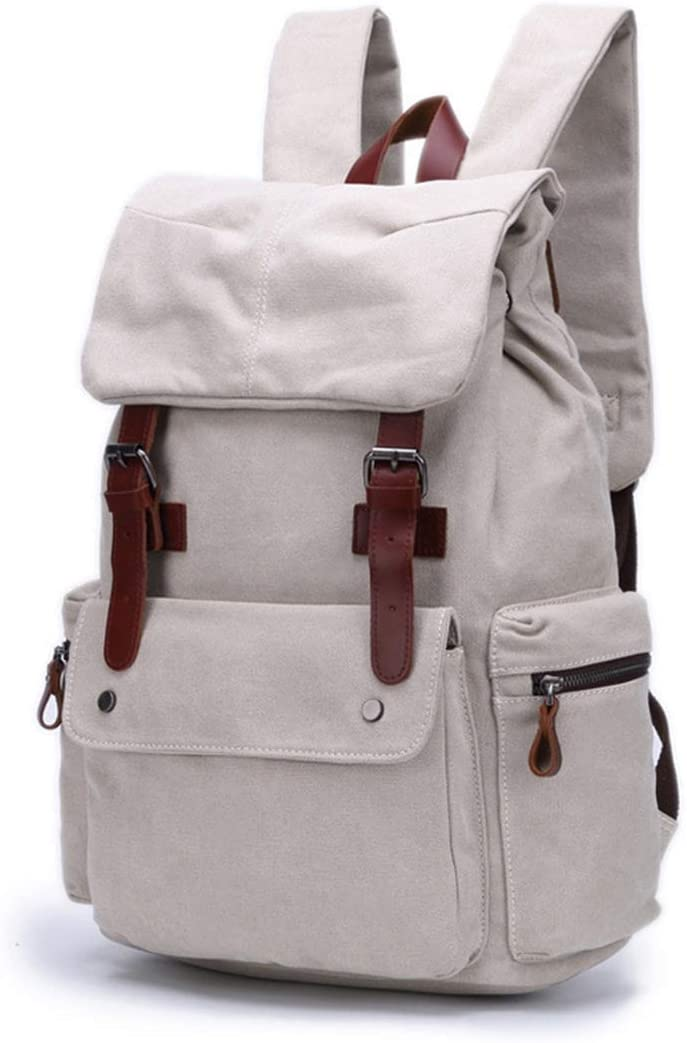 Carriemeow Vintage First Layer Cowhide with Canvas Backpack High Density Cotton Ribbon Outdoor Travel Backpack Color : White