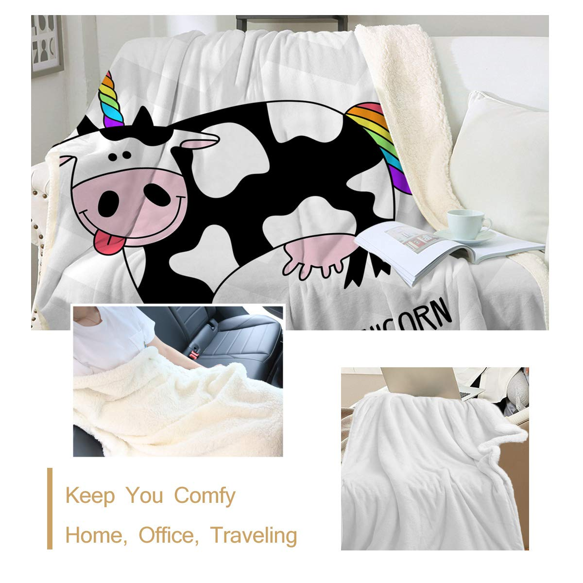 Black and White Cow Pattern Sleepwish Baby Plush Blanket Cozy Fleece with Sherpa Backing Woodland Forest Animals Print 30 x 40 Super Soft Lightweight and Fuzzy