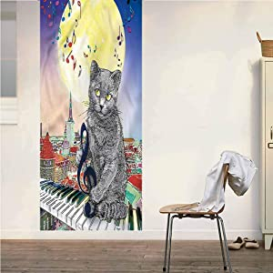 Poppy Ramsden City ONE Piece Door Stickers Wall Murals,Musical Notes Cat Peel and Stick Vinyl Door Mural Decals for Door/Wall/Fridge,32x95 Inch