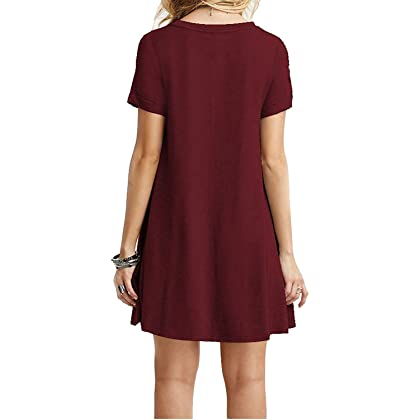 bc0c14fbfef ... TINYHI Women s Swing Loose Short Sleeve Tshirt Fit Comfy Casual Flowy  Tunic Cotton Dress Wine Red