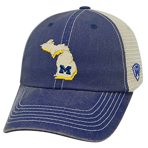(Top of the World NCAA Michigan Wolverines Men's Elite Fan Shop Off Road Mesh Back Hat, Navy)