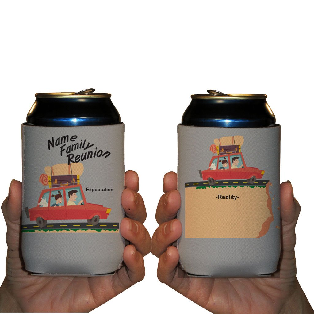 Custom Family Reunion Can Cooler Sleeves- Expectation Vs Reality Party Pack 12-16oz Can/Bottles Great For Family Reunion Parties (250) by VictoryStore