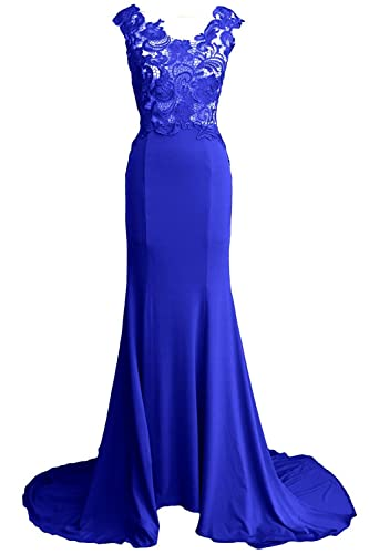 Prom Queen Women's Mermaid Lace Applique Formal Evening Gown Wedding Party Dress