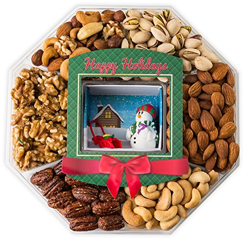 JUMBO Happy New Year Holiday Gift Baskets Fresh Variety of Gourmet Nuts - Miniature Handmade Snowman and Sleigh - Top Gifts Idea for Christmas Holiday Men Women and Family -2 Lb tray