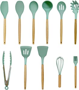 Silicone Cooking Utensil Set,Kitchen Tools12Pcs,Cookwarewith Wooden Handles,Food Grade Safety, 480℉ Heat Resistant, Used with Non-Stick Utensils (Green)