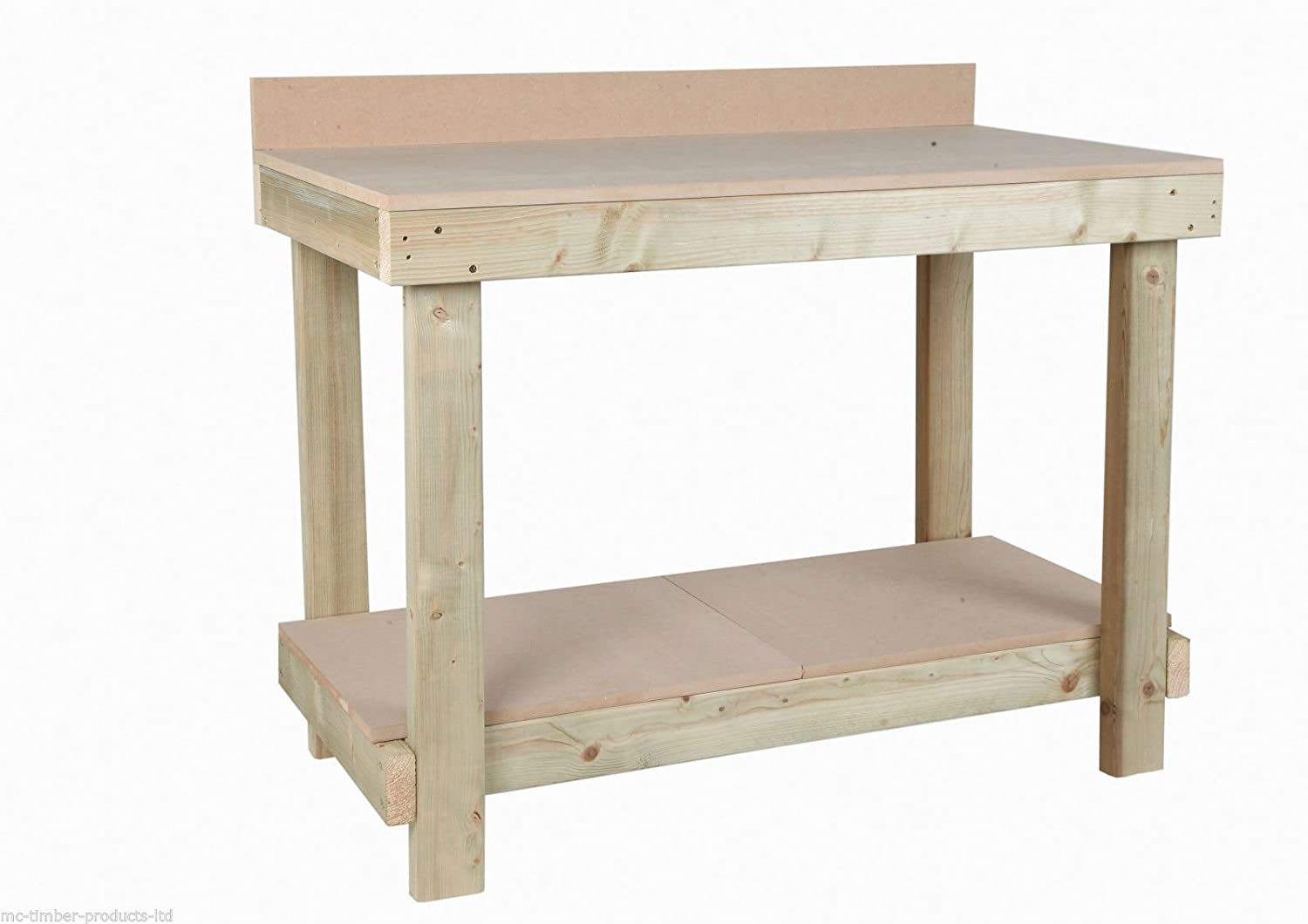 MC TIMBER PRODUCTS LTD 4ft WOODEN WORK BENCH MDF TOP Rear Upstand - HANDMADE IN UK