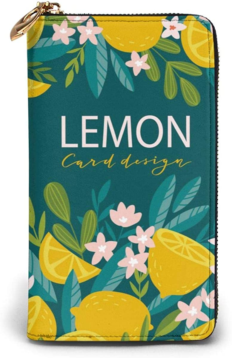 Genuine Leather Wallet Long Ladies Purse Handbag Multi Card Holder Organizer For Women Tropical Fruit Blooming Citrus Tree Lemons And Flowers Personalized