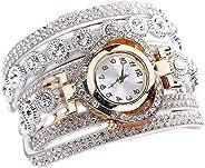 Women Watch Analogue Quartz Watch with Rhinestone Armband Multilayers Bangle Extra Thin Watch Crystal Decorated Heart Shape C