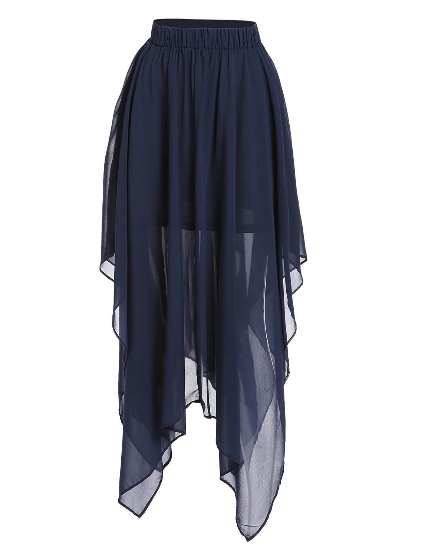 Zeagoo Womens Summer Chiffon Asymmetry Mopping Floor Length Pleated Maxi Skirt Dress