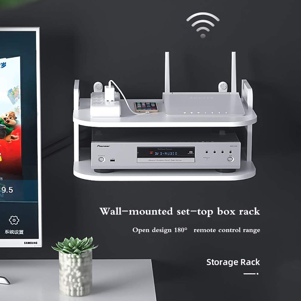 Suitable for Living Room Wall Hanging Shelf Punching-Free Storage Rack Floating Shelf For Set-Top Box Router Game Consoles Office Hotel etc. SOOTOP Set Top Box Rack