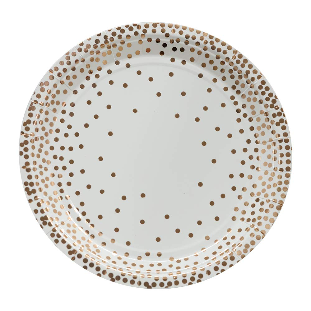 Ottin White and Rose Gold Paper Plates 9'' 80Counts Party Plates for Wedding Graduation Birthday Bridal Shower Weekend Party Engagement Celebrations (White with Rose Gold Foil Dots-80counts, 9)