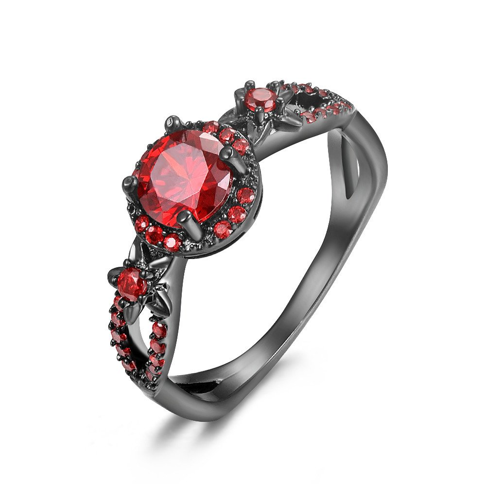 Trendy Statement Black Gold Filled Purple/Red Zircon Ring for Women Size 5-11 kingfishertrade-ltd ZSJY-2008