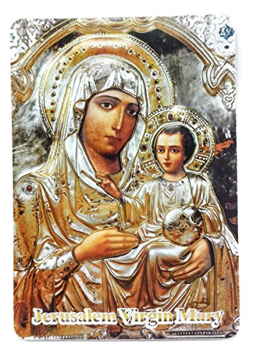 Jerusalem Virgin Mary and Baby Jesus 2D Icon Magnet Holy Land Keepsake 3.9