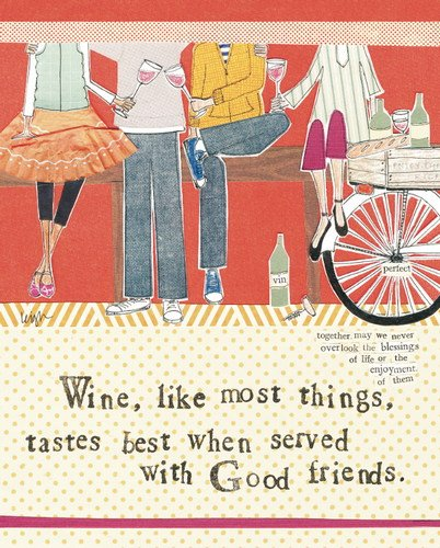 Curly Girl Design BLXWF39 ''Wine with Friends'' Art Block by Curly Girl Design