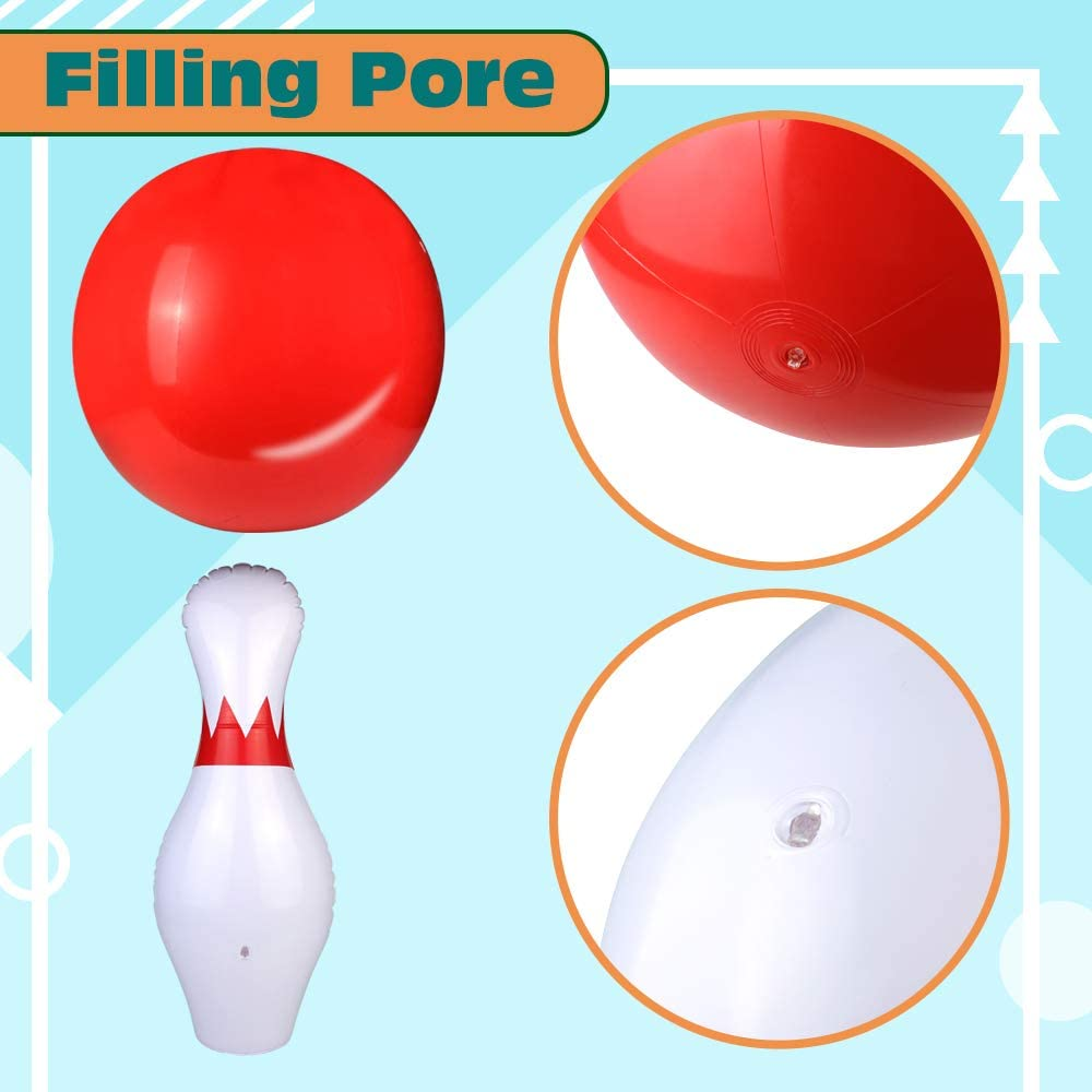 Giant Bowling Set for Kids Inflatable Pins Ball Toys Indoor Activities Fun Game Yard Camping Games Family Party Birthday Educational Learning Sport Boys Girls 3 4 5 6 Years Old