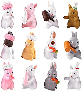 12 Pcs Rabbit Figures for Kids, Bunnies Toy Set Cake Toppers, Miniature Rabbit Fairy Garden Figurines Collection Playset for Christmas Birthday Gift Desk Decoration