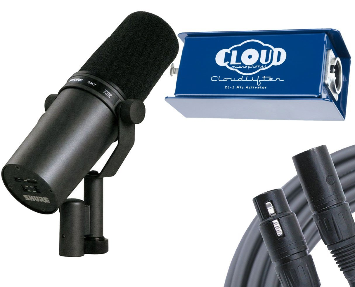 Shure SM7B Vocal Microphone + Cloud Cloudlifter CL-1 + Mogami Gold Studio 6' Microphone Cable
