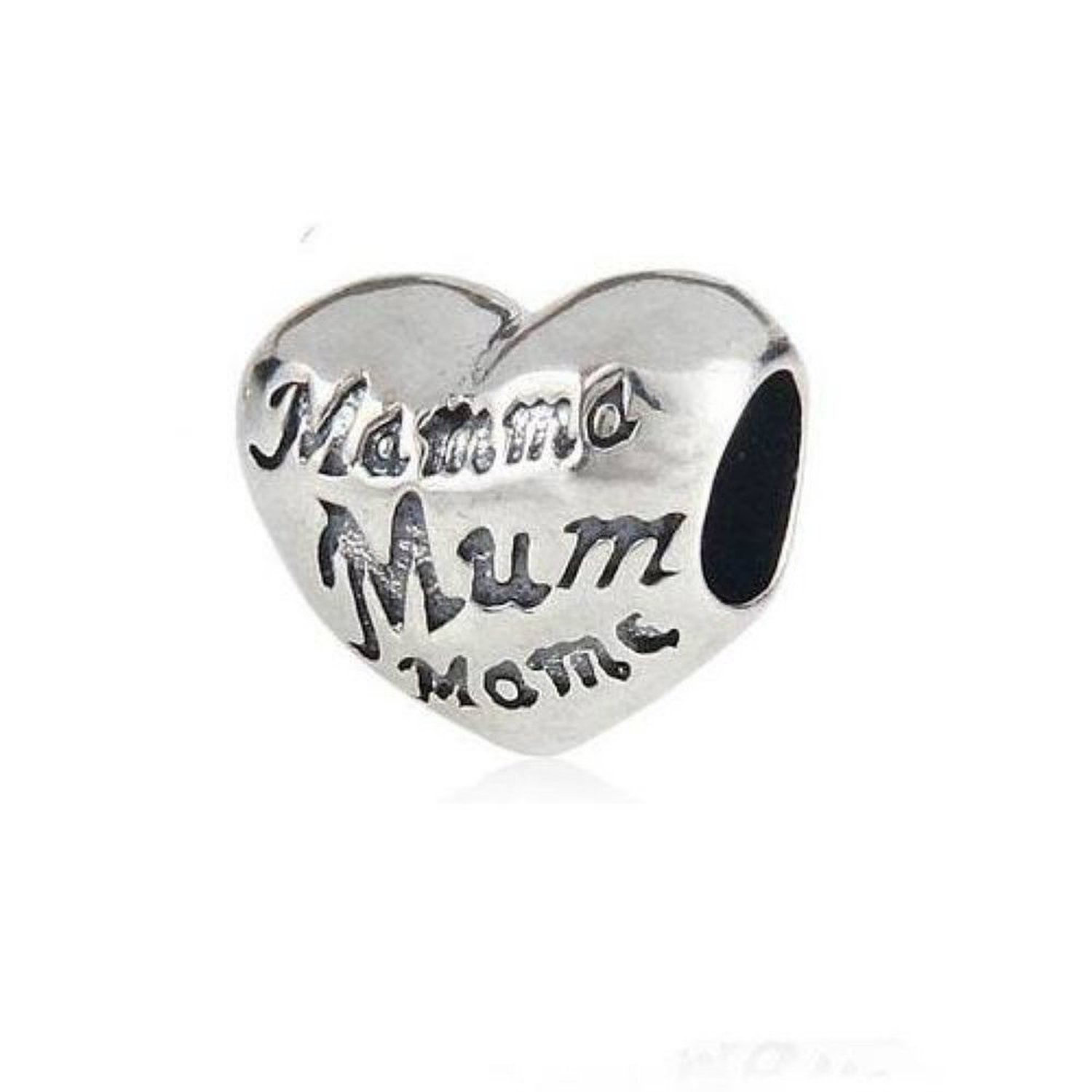 Mum Heart Love Mom Mother Charm Bead 925 Sterling Silver