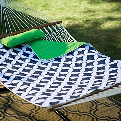 Ben and Jonah Cotton Rope Double Hammock with Metal Stand Deluxe Set - Green/Navy