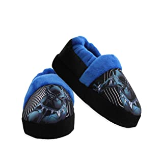 Avengers Black Panther Toddler Boy's Plush Aline Slippers (11-12 M US Little Kid, Black)