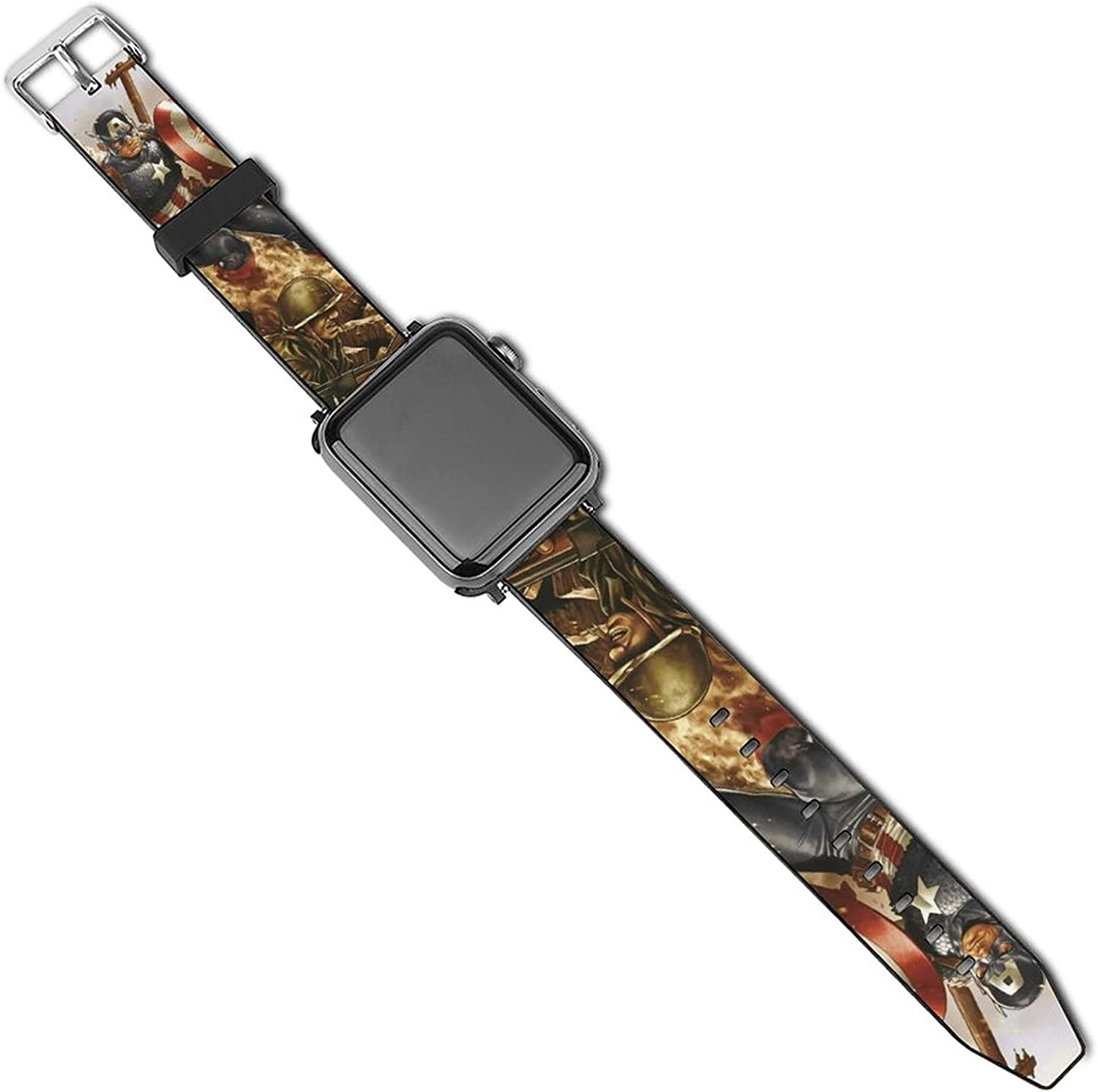 Marvel Captain America Apple Watch Band 44mm 42mm 40mm 38mm Leather Compatible iWatch Strap Compatible Apple Watch 5 4 3 2 1