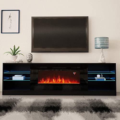 MEBLE FURNITURE RUGS Boston 01 Electric Fireplace Modern 79 TV Stand