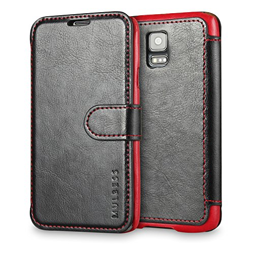 Galaxy S5 Case Wallet,Mulbess [Layered Dandy][Vintage Series][Black] - [Ultra Slim][Wallet Case] - Leather Flip Cover with Credit Card Slot for Samsung Galaxy S5 SV i9600 (Get A Credit Card With Horrible Credit)