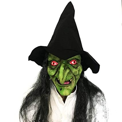 Máscara de bruja con pelo negro y sombrero para Halloween, fiesta de adulto, horror